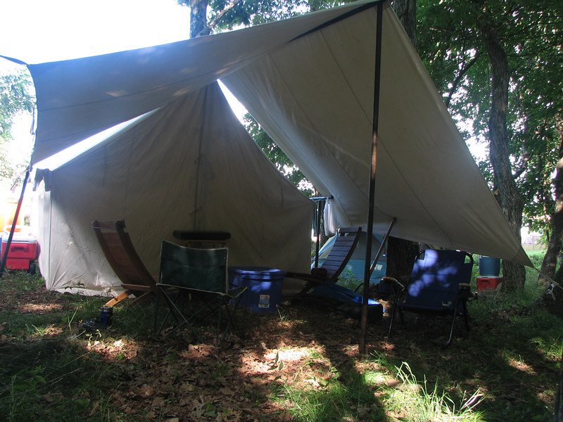 "Our camp, dubbed ""Shade of the Shade.""  Very pleasant if somewhat slopey."
