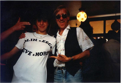 Steve with Corin Birkin and the very rare Colin Reece and Steve Shorey T shirt in the style of Dire Straits - Broadstairs folk festival 1986.