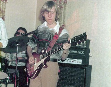 1974/5 with my brand new Les Paul and Sound City 50 amp..I still have both of them, but the shirt and wings badge ..yuk!