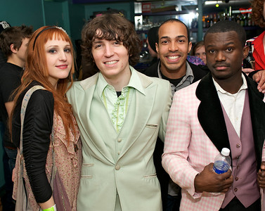 Cassandra Donner, Devin Williams of the band Automagik, Manny Hernandez and Teddy Aitkins also of Automagik who opened for Foxy Shazam Saturday night at the Madison Theater