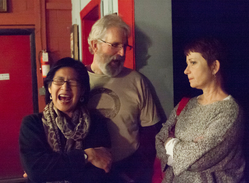 Aline, Gary, and Lila at the Grey Eagle, before the show.