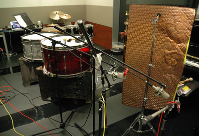 """setup for """"Rendition"""" soundtrack recording including horizontal bass drums, 28"""" and 32"""" plus stamped copper """"thunder sheet"""" - Paul Hepker, composer - New Line Cinema"""
