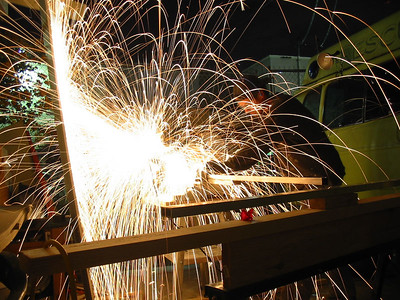 Cutting steel tubing for large Liquid Propanophone stand.
