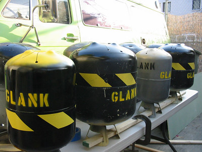 Assorted Liquid Propanophones.  Foreground tanks are from helium tanks, smaller tanks are from Smog Check tanks (Smogophones).