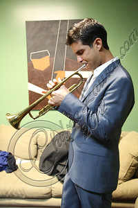 HOLLYWOOD, CA - SEPTEMBER 20:  Musician Gabriel Johnson warms up backstage at Catalina Jazz Club Bar & Grill on September 20, 2012 in Hollywood, California.  (Photo by Chelsea Lauren/WireImage)