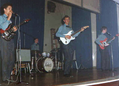 2 of 6  band nameThe Zephyrs   who's in the picture   Left to right: Robin Bownes, rhythm guitar/vocals; Gerry Sayer, drums/vocals;  Tony Purdy, lead guitar; John Haram, bass.  Regular Sunday evening gig on HMS Afrikander - Royal Navy club in                     Cape Town.  1965