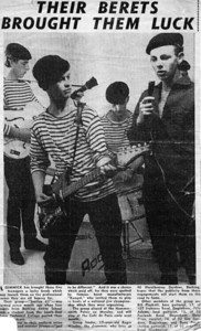 2 of 2  band nameSection 62    who's in the picture  In 1963 we had a contract with Kangol (made berets and crash helmets) to promote their products by playing in the Palais dance halls around London. Although a very old press photograph, this shows us dressed as French matelots for this - Left to right: Bill Plaskett, Pete Adams, Roger Wholey, Dave Price and David Flack (almost hidden behind Dave Price).