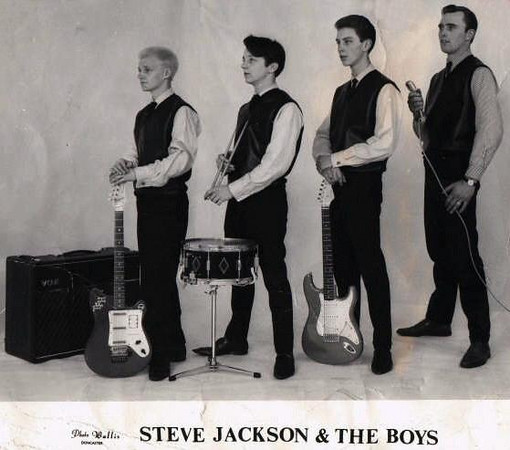 "<font color=red><font size=3>band name<br> <font color=white>Steve Jackson & The Boys<br> <br><font size=2> <font color=red>submitted by<br> <font color=white>John Parkes. I wanted to play and sound  like Hank Marvin and was bought a Hofner Clubman and a Selmer 10watt Amplifier. Now this was a real guitar, and I started to play seriously, but it did not sound the same as Hank! I bought all the records to play along with - I had them on auto play on the Dancette record player (you know with the arm back) but I still did not sound the same as the records.<br> <br> Then I found out Hanks guitar was different, and so was his Amp. He even had an echo box, something I had not got. I got a Watkins Copycat echo box, a continuous loop tape echo from 'Smedleys' music shop in Printing Office Street Doncaster (the shop is still there today). It still was not the same sound as Hank!<br> <br> There was this wonderful place in Leeds called 'Kitchens Music'. It was an Aladdin's cave of musical instruments and they had a Fender Stratocaster, which was the same guitar that Hank played. By now I was 16 years old. I bought a Fender Stratocaster in Flamingo Pink                for 160 guineas, a Vox AC30 Combo Amp for 110 pounds and a Baby Binson Echo for 110 pounds and 5 shillings.  When I got these plugged in and switched on - Wow! This was the sound, I had got there at last!  <font color=red><br> who's in the picture<br> <font color=white>John Parkes, lead guitar; Terry Hardy, rhythm guitar; Eric (Brun) Brown, drums; Ben Thornton, vocals. <font color=red><br> where was the band based<br> <font color=white>Doncaster, UK <font color=red><br> years active<br> <font color=white>Early 1960's <font color=red><br> musical influences<br> <font color=white>The Shadows <font color=red><br> notes<br> <font color=white>We did a good few working men's clubs in and around the Doncaster Area. We had a manager called Ray Brooks who used to get us bookings and drive us and our gear around. <font color=red><br> brushes with fame<br> <font color=white>...<br> <font color=red> where are they now<br> <img src=""http://oldwildmen.smugmug.com/photos/184106686-Th-1.jpg"" style=""float:left;border:10;margin:10px"">  <font color=white>I play lead guitar in a Shadows tribute band called The Apaches. </font color=white>"