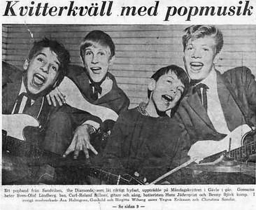2 of 3  band nameThe Diamonds (Sweden)   who's in the picture Roland Billner, lead guitar, vocals; Benny Bjork rhythm guitar, vocals; Sven-Olov Lindberg bass, vocals; Hans Jaderkvist, drums.  1963