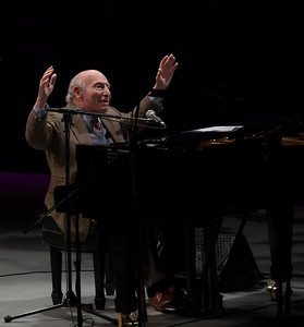 George Wein on the Steinway.  One of us took this shot during his performance and the following shot was taken by the other one of us at the same moment from the other side of the stage.