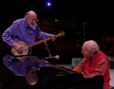 Pete Seeger and George Wein during sound check at Symphony Space, NYV.