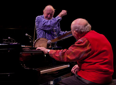 Pete Seeger and George Wein, sound check.
