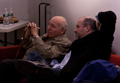 George Wein and promoter Steve Lurie going over the plans for the nights performance at Symphony Space, NYC.