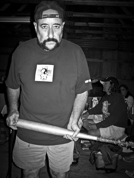 Peppi Marcello with his trademark bat in the barn during Ratstock VIII in 2006. RIP Peppi 1945-2013 We will miss you, Rat On!