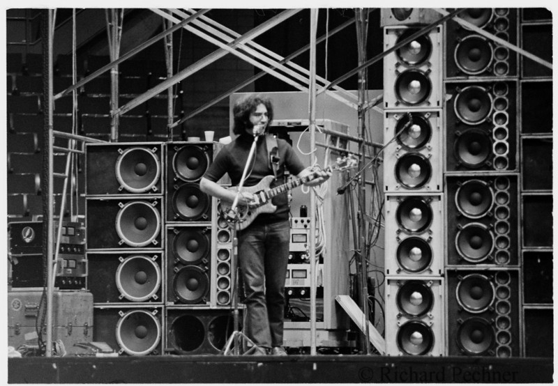 Jerry Garcia alone during sound check, Portland Memorial Coliseum  5.19.74