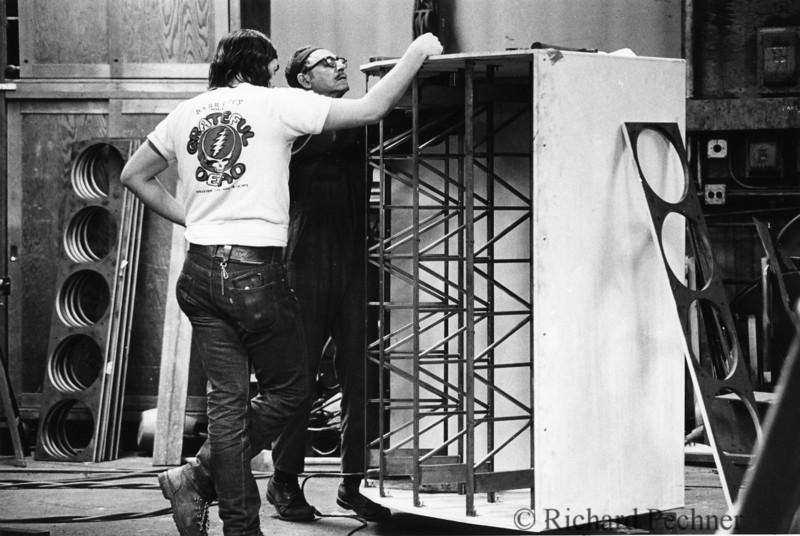 "Mark ""Sparky"" Raizene inspecting progress of the Center Cluster construction with master welder Ed Pareto of Victor Iron Works, San Rafael, CA"