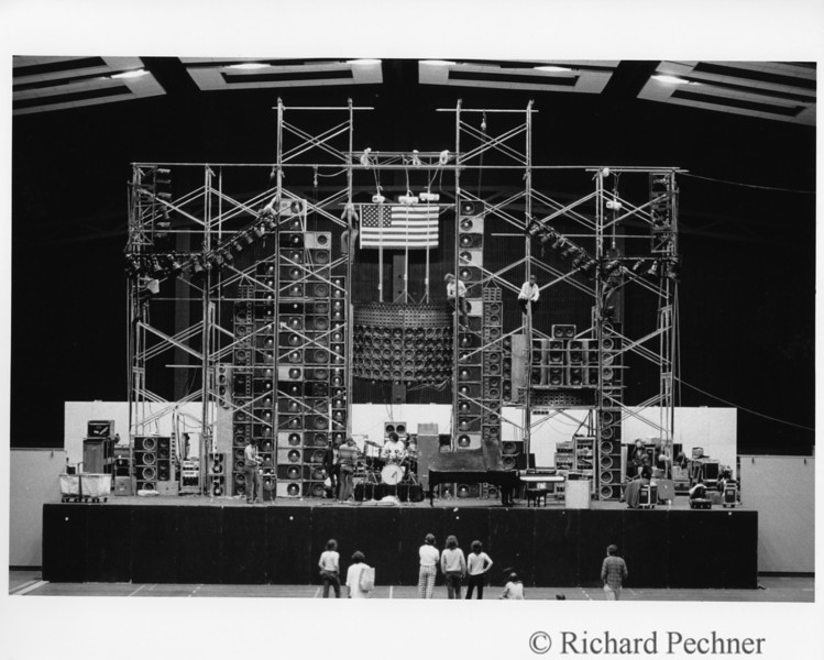 HEC Edmundson Pavillon, University of Washington, Seattle, 5/21/1974.  Crew sound check.