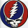 "Original GD Steal Your Face decal produced by Bear,  at a company in LA that made race car decals, before it was ""officially"" adopted by the Band and GDP.  This is one of ten I bought from Bear directly at the first Dead office in San Rafael at 1330 Lincoln Avenue in early 1970."