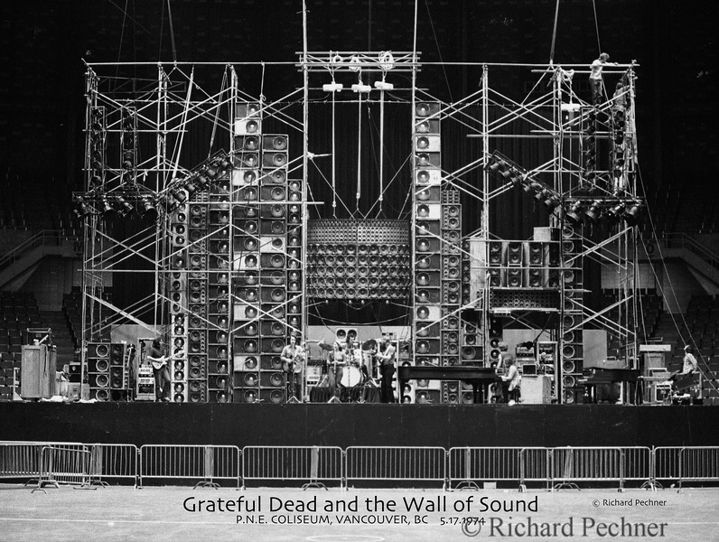 Wall of Sound, sound check, P.N.E. Coliseum, Vancouver, BC. 5/17/1974  Poster, high res image