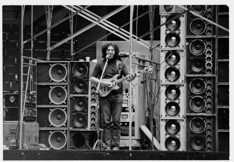 Jerry Garcia alone during sound check, Portland Memorial Coliseum  5.19.74