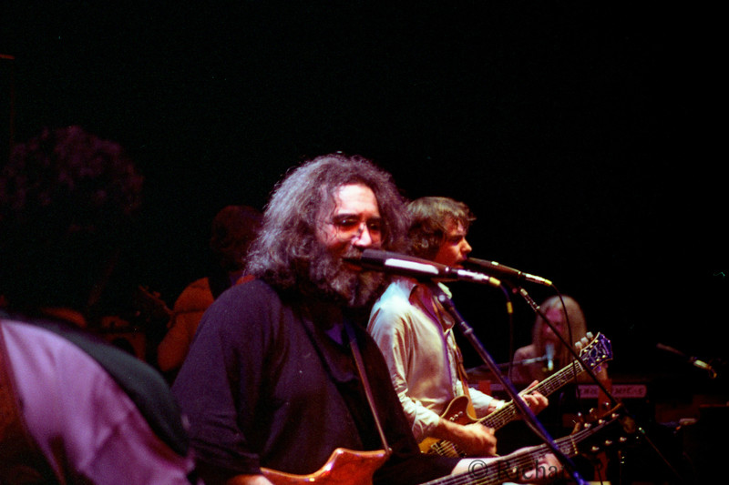 Jerry Garcia and Bob Weir  at the Cambodian Refugee Benefit,  Oakland Coliseum,  1/13/80