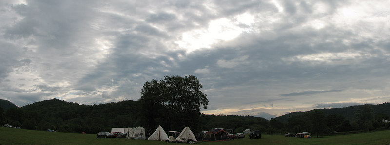This is a small panorama of our camp, which is in the no-generator field.