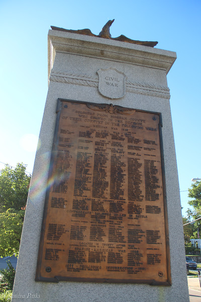 Intersting memorial... both Union and COnfederate soldiers listed. And the Mexican American War, the Spanish American and the Phillipino insurrection of 1899.