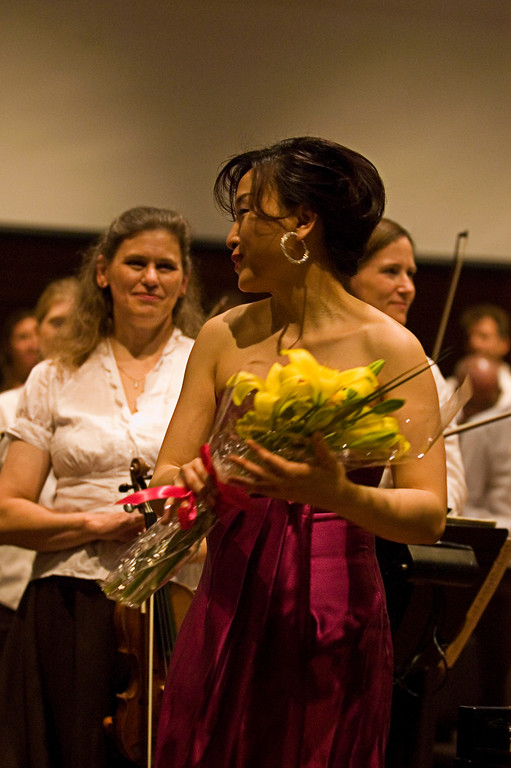 Pianist Jie Chen after her performance of ProkofievÕs Piano Concerto No. 3.
