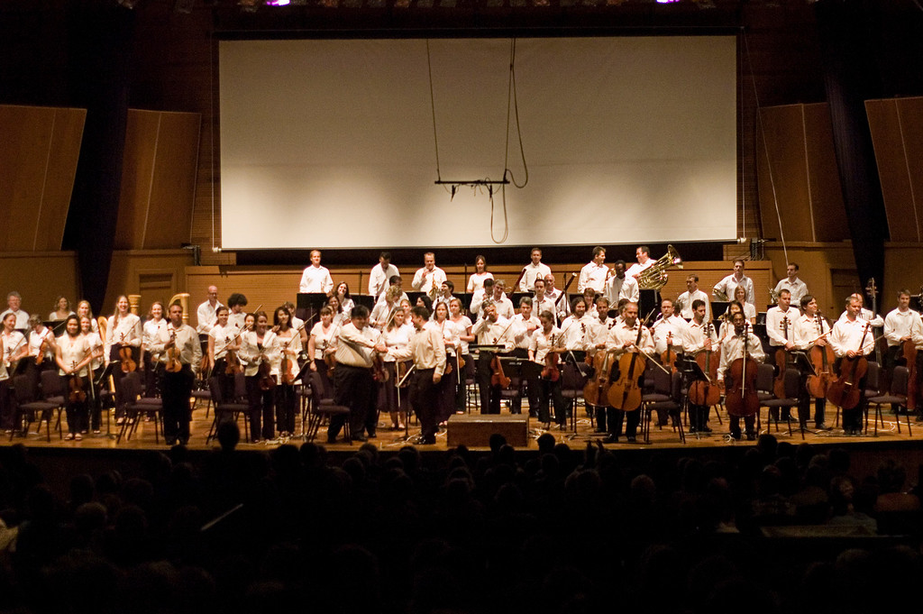 The CMF Festival Orchestra, conducted by Michael Christie, performed on Sunday evening at the Chatauqua Auditorium.