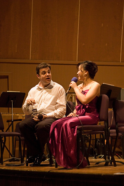 Jie Chen and conductor Michael Christie answering questions during intermission.