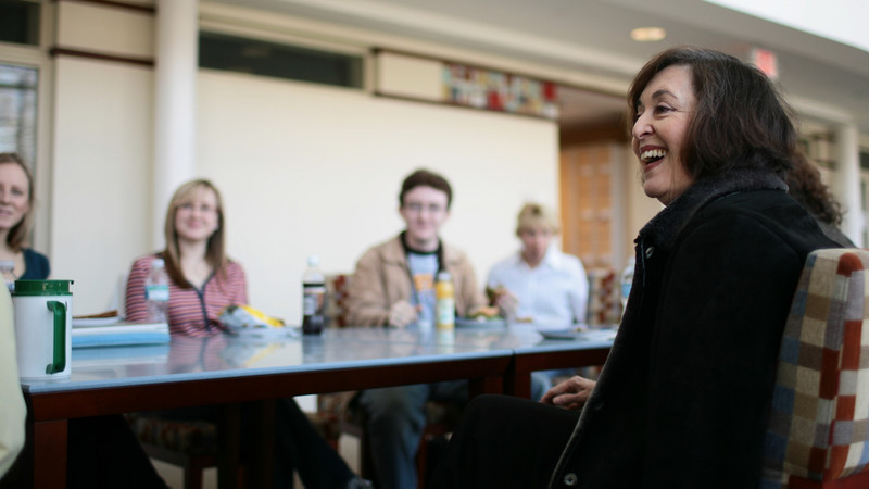 "Gretchen Cryer and Nancy Ford, both 1957 graduates of DePauw and Broadway writers, speak with students and faculty about their lives working in musical theater.  The duo's musical ""Einstein and the Roosevelts"" will be performed at DePauw in the fall.  PHOTO BY ALEX TURCO"