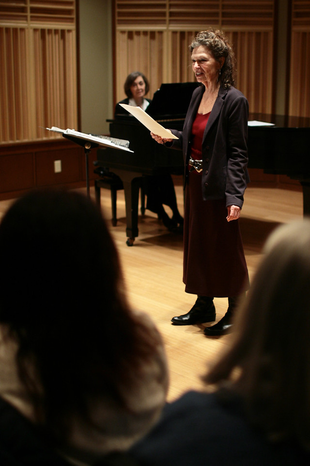 "Gretchen Cryer and Nancy Ford, both 1957 graduates of DePauw and Broadway writers, perform portions of their musical ""Einstein and the Roosevelts"" that will be performed at DePauw in the fall.  PHOTO BY ALEX TURCO"