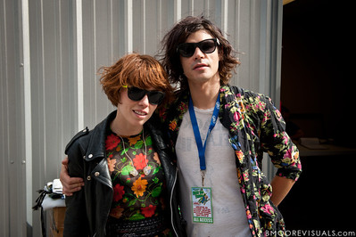 Hannah Hooper and Christian Zucconi of Grouplove pose backstage on December 3, 2011 during 97X Next Big Thing at 1-800-ASK-GARY Amphitheatre in Tampa, Florida