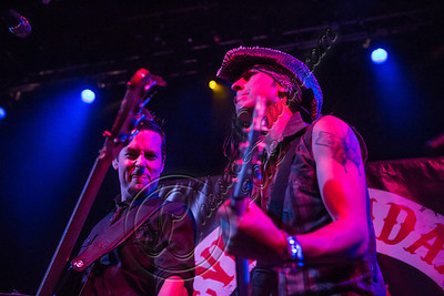 WEST HOLLYWOOD, CA - NOVEMBER 13:  Bassist Luis Espaillat (L) and guitarist Virus of Eve To Adam performs at House of Blues Sunset Strip on November 13, 2012 in West Hollywood, California.  (Photo by Chelsea Lauren/WireImage)