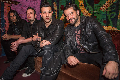 WEST HOLLYWOOD, CA - NOVEMBER 13:  (L-R) Guitarist Gaurav Bali, bassist Luis Espaillat, Vocalist / guitarist Taki Sassaris and Drummer Alex Sassaris of Eve To Adam pose backsstage at House of Blues Sunset Strip on November 13, 2012 in West Hollywood, California.  (Photo by Chelsea Lauren/WireImage)