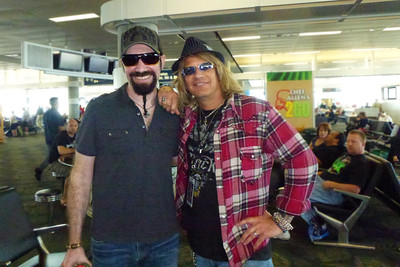 Eric Levy; keyboardist for Night Ranger. Waitin' for our flights at the airport.