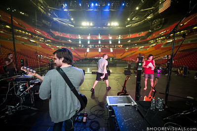Adam Crosariol, Jad Gillies, Joel Houston, and Simon Kobler of Hillsong United perform soundcheck at American Airlines Arena on August 6, 2011 in Miami, Florida