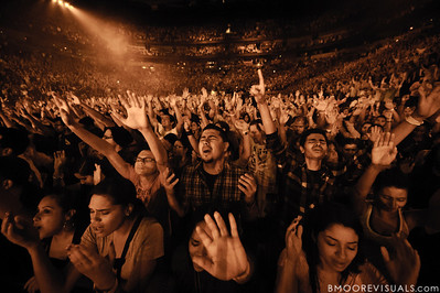 The crowd sings along with Hillsong United as they perform in support of Aftermath at American Airlines Arena on August 6, 2011 in Miami, Florida