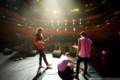 Joel Houston and Jad Gillies of Hillsong United perform soundcheck at American Airlines Arena on August 6, 2011 in Miami, Florida