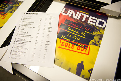 Set list and poster for Hillsong United's performance on August 5, 2011 at St. Pete Times Forum in Tampa, Florida
