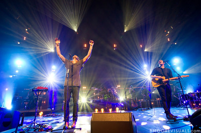 Joel Houston and Jadwin Gillies of Hillsong United perform in front of a sold out crowd on August 5, 2011 at St. Pete Times Forum in Tampa, Florida