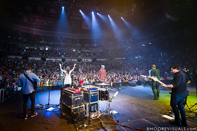 Dylan Thomas, Hayley Law, Matthew Crocker, Jadwin Gillies, and Adam Crosariol of Hillsong United perform in front of a sold out crowd on August 5, 2011 at St. Pete Times Forum in Tampa, Florida