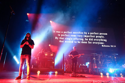 "Jonathon ""J.D."" Douglass, Peter James, and Timon Klein of Hillsong United perform in front of a sold out crowd on August 5, 2011 at St. Pete Times Forum in Tampa, Florida"