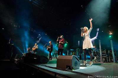 "Jonathon ""J.D."" Douglass, Joel Houston, Jadwin Gillies, Matthew Crocker, and Hayley Law of Hillsong United perform in front of a sold out crowd on August 5, 2011 at St. Pete Times Forum in Tampa, Florida"