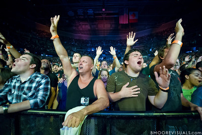 Fans sing along as Hillsong United perform on August 5, 2011 at St. Pete Times Forum in Tampa, Florida