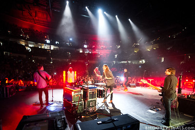 Dylan Thomas, Hayley Law, Matthew Crocker, Joel Houston, Jadwin Gillies, and Adam Crosariol of Hillsong United perform in front of a sold out crowd on August 5, 2011 at St. Pete Times Forum in Tampa, Florida