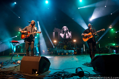 Joel Houston and Jadwin Gillies of Hillsong United perform in front of a sold out crowd on August 5, 2011 at St. Pete Times Forum in Tampa, Florida (Hayley Law is shown on screen)
