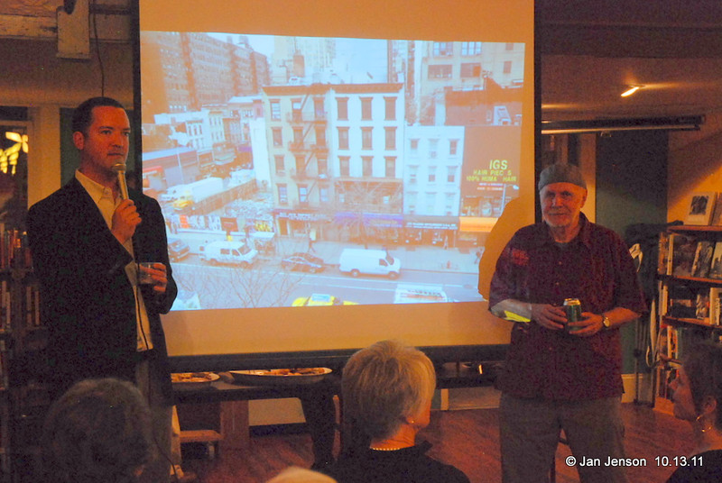 Sam Stephenson (left) and Ron Free (right) talk about the Jazz Loft (pictured in the slide (white building in the middle) on the slide.  All the floors were wired for sound and E. Eugene Smith took over 40,000 photos of musicians there from 1957 through 1965.  Ron is a drummer and his photos are sprinkled liberally throughout the book!