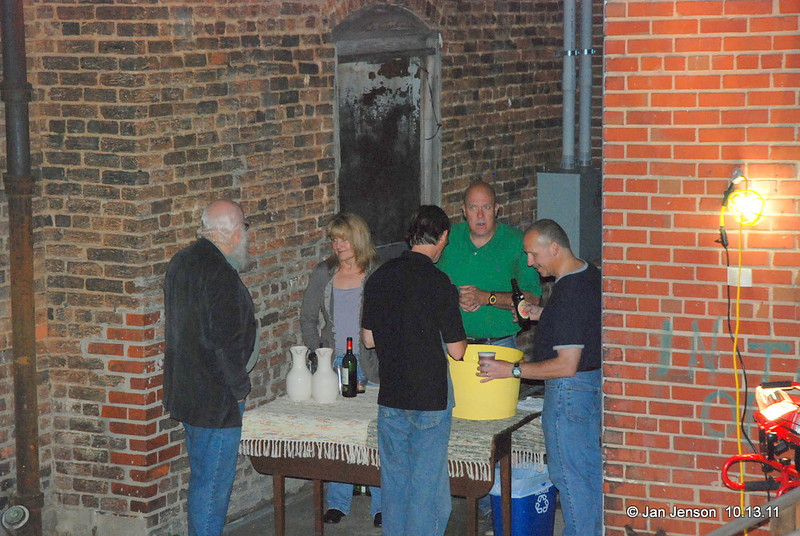 Crowd on the outside back patio at the Literary Bookpost in Salisbury, NC on Thursday, October 13, 2011.