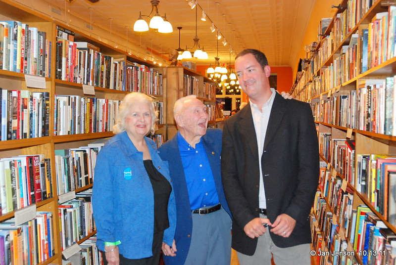 Libby and Dr. Clyde Young with Sam Stephenson, author of the Jazz Loft Project book at the Literary Bookpost on October 13, 2011.
